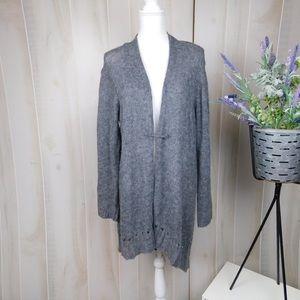 Eileen Fisher Grey Wool Open Front Cardigan